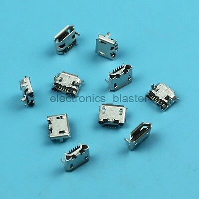 10 Pcs Micro USB Type B Female 5 pin SMD 4 pin Legs DIP Socket Connector