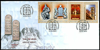 2013 Moses,Tablets of Law,Michelangelo,Mount Sinai,Torah ark,JUDAICA,Romania,FDC