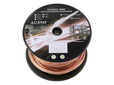 50m Roll 12AWG Speaker Wire Cable 99.99% OFC 12 Gauge
