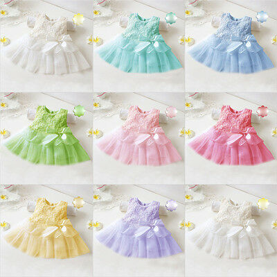 0-3Y Baby Girl Toddler Princess Pageant Party Tutu Lace Bow Flower Dresses Rock