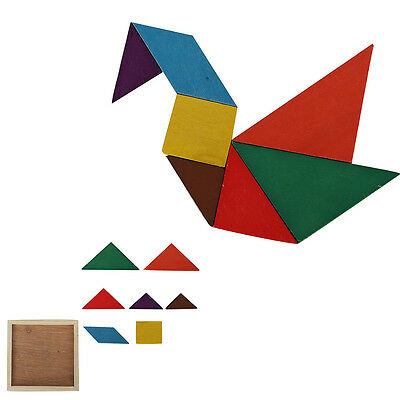 7 blocks Magic Wooden Puzzle Tangram Brain Teaser Kid Educational Game Toy Gift