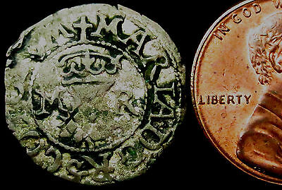 P856: 1542-58 Scottish Mary Hammered Silver Half Bawbee - rare denomination