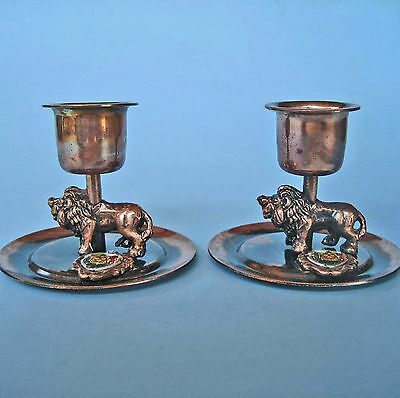 PAIR SMALL RETRO COPPER CANDLESTICK HOLDERS LIONS Cape Town S. Africa Souvenir