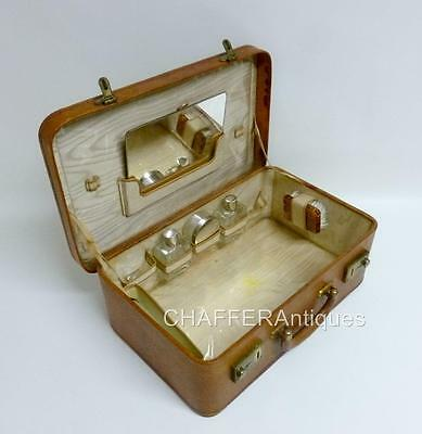 Antique French Pigskin Leather VANITY TRAVEL CASE with part contents