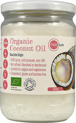Pure Organic Coconut Oil 500ml Glass 1 litre Cold Pressed Extra Virgin Cooking