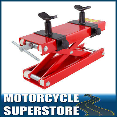MOTORCYCLE MOTOBIKE 450Kg WORKSHOP HOME GARAGE SCISSOR LIFT JACK STAND RED