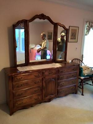 Ethan Allen Dresser and China Cabinet with China all in mint condition