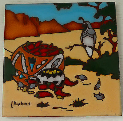 Vintage L. KUHNE Southwest Mexican TILE Trivet Art Quails Peppers Earthtones