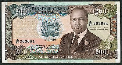 1987 Central Bank of Kenya 200 Shillings African Banknote Scott #P-23a VF