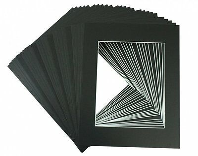 Set of 20 12x16 BLACK Picture Mats with Whitecore for 8x12 photo