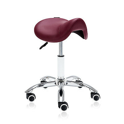 DR.LOMILOMI Hydraulic Saddle Rolling Medical Massage Stool Chair 506 - Burgundy
