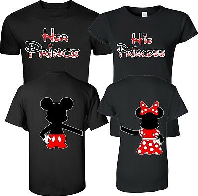 Mickey and Minnie  Prince and Princess couple matching funny cute T-Shirts