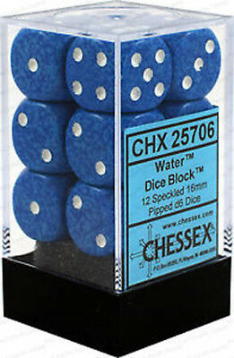 D6 Dice Speckled 16mm Water (12 Dice In Display)  - BRAND NEW