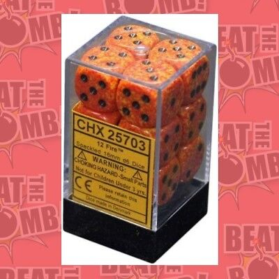 D6 Dice Speckled 16mm Fire (12 Dice In Display)  - BRAND NEW