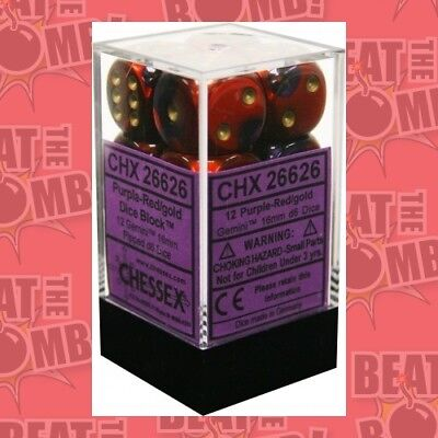 D6 Dice Gemini 16mm Purple-red/gold (12 Dice In Display)  - BRAND NEW