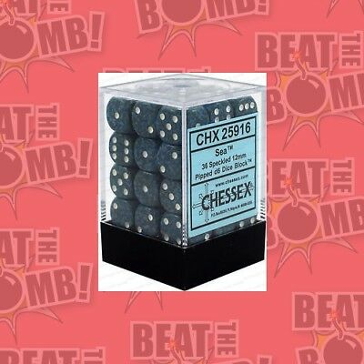 D6 Dice Speckled 12mm Sea (36 Dice In Display)  - BRAND NEW