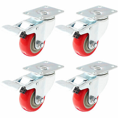 "4 Pack 3"" Caster Wheels Swivel Plate Total Lock Brake Red Polyurethane PU 880LB"