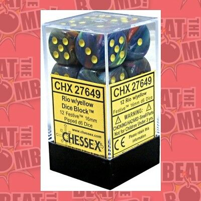 D6 Dice Festive 16mm Rio/yellow (12 Dice In Display)  - BRAND NEW