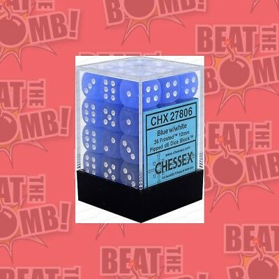 D6 Dice Frosted 12mm Blue/white (36 Dice In Display)  - BRAND NEW