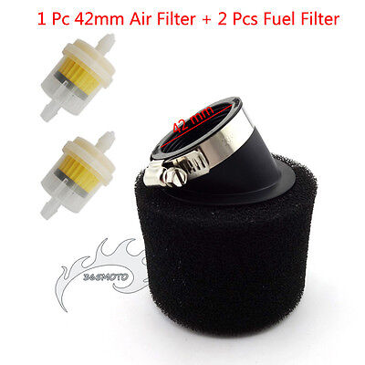Petrol Gas Fuel Angled Air Filter 42mm For CRF50 Pit Dirt Monkey Bike ATV Quad