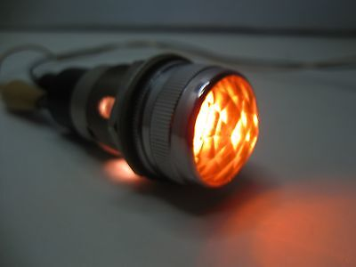 """Vintage DIALCO Panel Mount Indicator Light with 1"""" Amber Faceted Lens and Bulb"""
