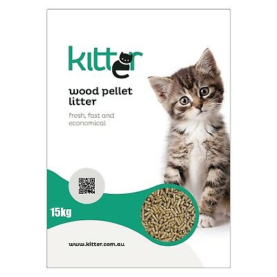 Kitter Wood Pellet Cat Litter - 15kg - Made in Australia