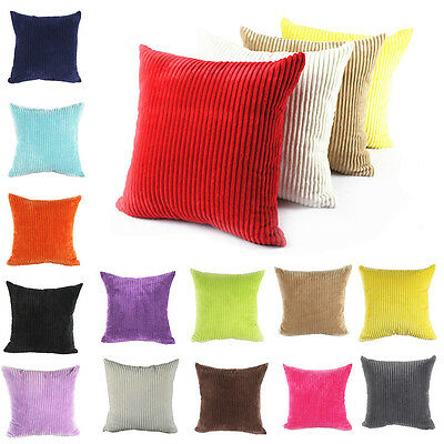 """Large Soft Velvet Striped Couch Cushion Covers Pillow Case Home Decor 24""""x24"""" JN"""