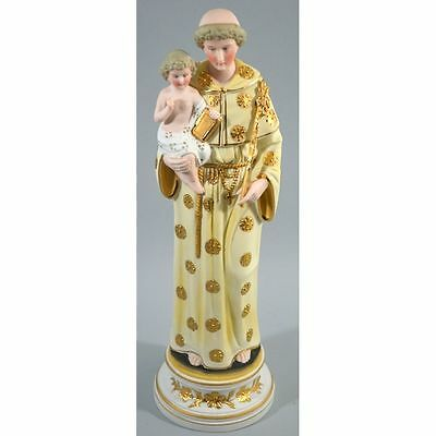 Antique Religious Hand Painted Bisque Statue Saint Anthony of Padua & Baby Je...