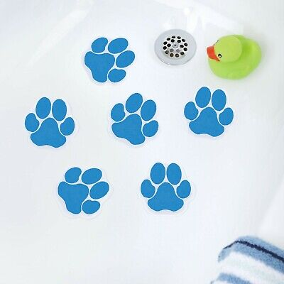 Adhesive Paw Print Bath Treads (6 Per Pack) in Blue by SlipX Solutions
