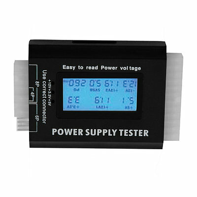 Digital LCD PC Computer PC Power Supply Tester 20/24 Pin SATA HDD Testers DE