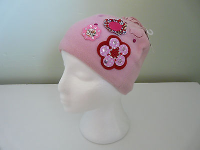 Monsoon Accessorize Girls Pink Floral Soft Fleece Beanie Hat Size 3-6 Years
