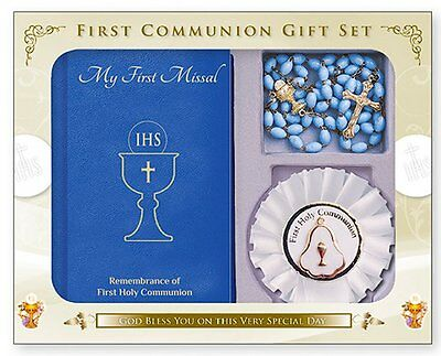 FIRST HOLY COMMUNION Catholic Gifts Missal Book Rosette & Communion Rosary Beads