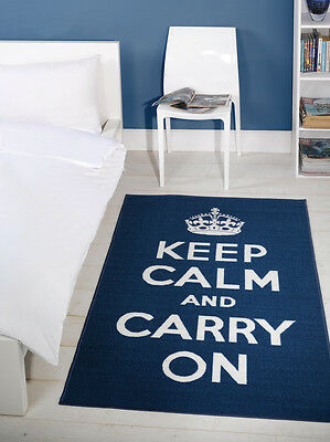 "Blue & White ""Keep Calm And Carry On"" Rug 100x160cm"