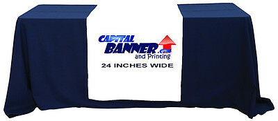 """CUSTOM FULL COLOR TRADE SHOW TABLE RUNNER 36""""x 72"""" + Solid table cover included"""