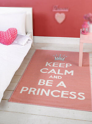 "Pink & White ""Keep Calm And Be a Princess"" Rug 100x160cm"