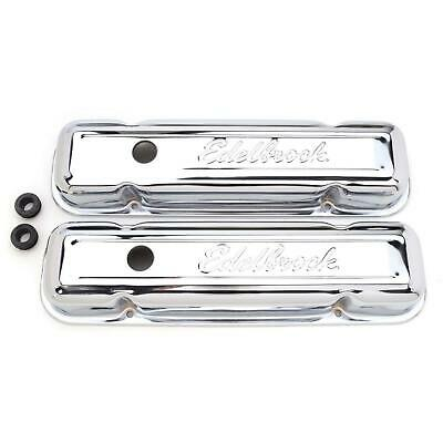 Edelbrock 4456 Signature Series Chrome Valve Cover Set, Pontiac V8