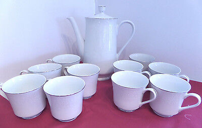 """Crown Victoria Fine China Lovelace Pattern 10"""" Coffee Pot and 10 Cups"""