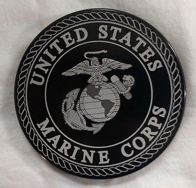 "U.S. MARINE CORPS, Billet Aluminum Hitch Cover, Black 4"" Round Made in USA"