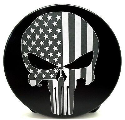 "PUNISHER, AMERICAN FLAG, Billet Aluminum Hitch Cover Plug, Black 4"" Round"
