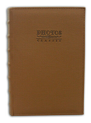 "Photo Album Holds 300 4""x6"" pictures 3per page Faux Leather Vintage Marron Brown"