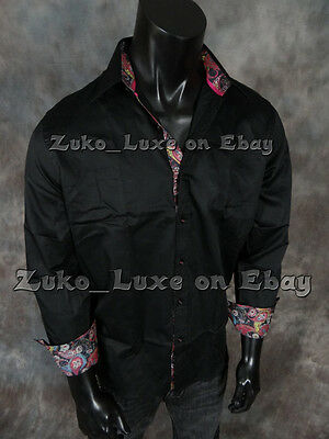 "NEW Mens Button Down Sport Shirt ""SATEEN"" Feeling Solid Black ""Classic Fit"""