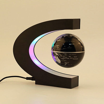 C shape LED World Map Decoration Magnetic Levitation Floating Globe Light JK