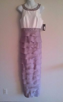 JESSICA HOWARD Silver Shutter Pleat Gown -  Mother of Bride/Groom- NWT - Size 12