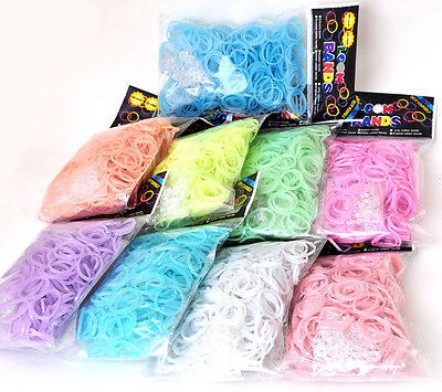 600 Bands Colourful Rubber Bands 24 Clips 1 Hook Rainbow Loom Refill DIY Kit