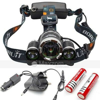 2016 New 6000Lm 3 LED Rechargeable Headlamp Headlight Head Torch Light Lamp