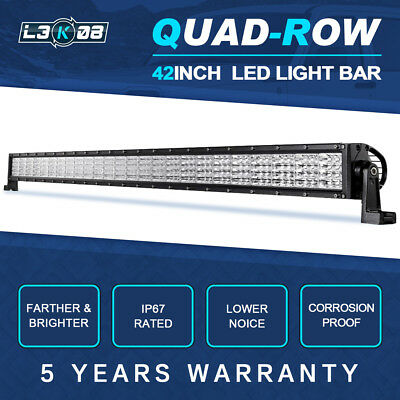 """52inch 3600W QUAD ROW LED Work Light Bar Combo Offroad Pickup 4WD Truck 50"""" 54"""""""