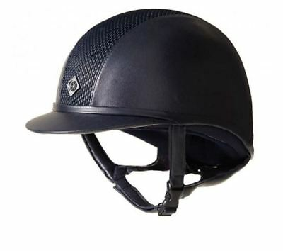 Charles Owen Leather Look AYR8 Riding Helmet - All Navy - PAS 015 and ASTM F1163