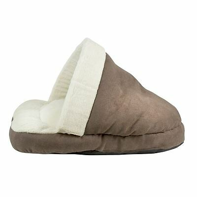 World of Pets Brown Faux Suede Cat Cushion Sleeping Shoe Soft Fleece Lining