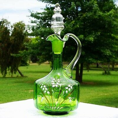 Lovely Victorian Antique Green Glass Decanter Lily of the Valley Hand Painted