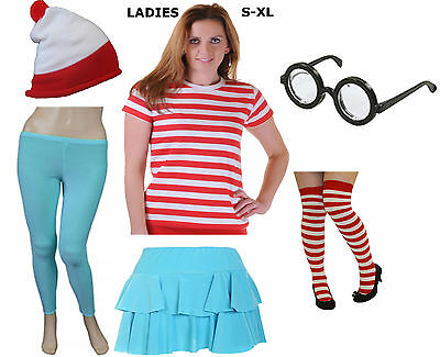 Adult Women Men Red And White Striped T Shirt Lot Fancy Dress Book Week Costume